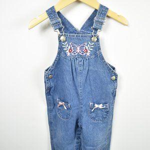 Girls denim overalls with pink details